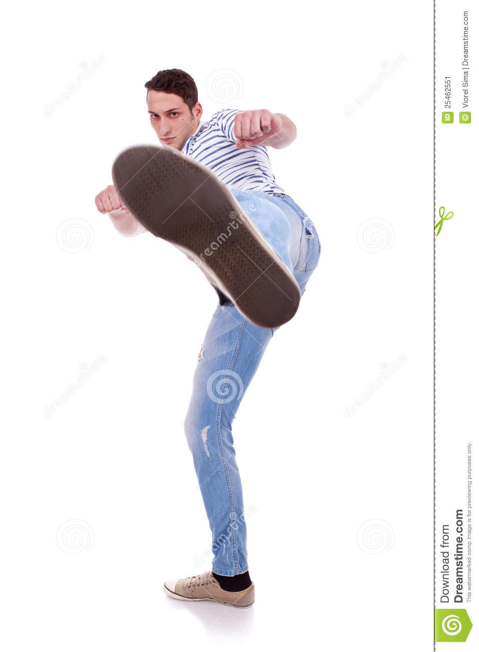 Young Casual Man Kicking Stock Image - Image: 25462551