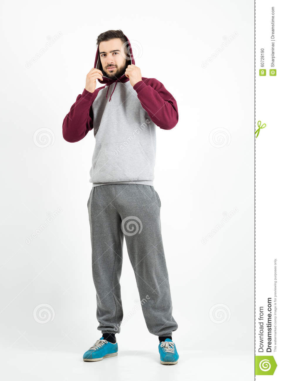 full body hoodie young casual man in sportswear holding hoodie stock photo 7595