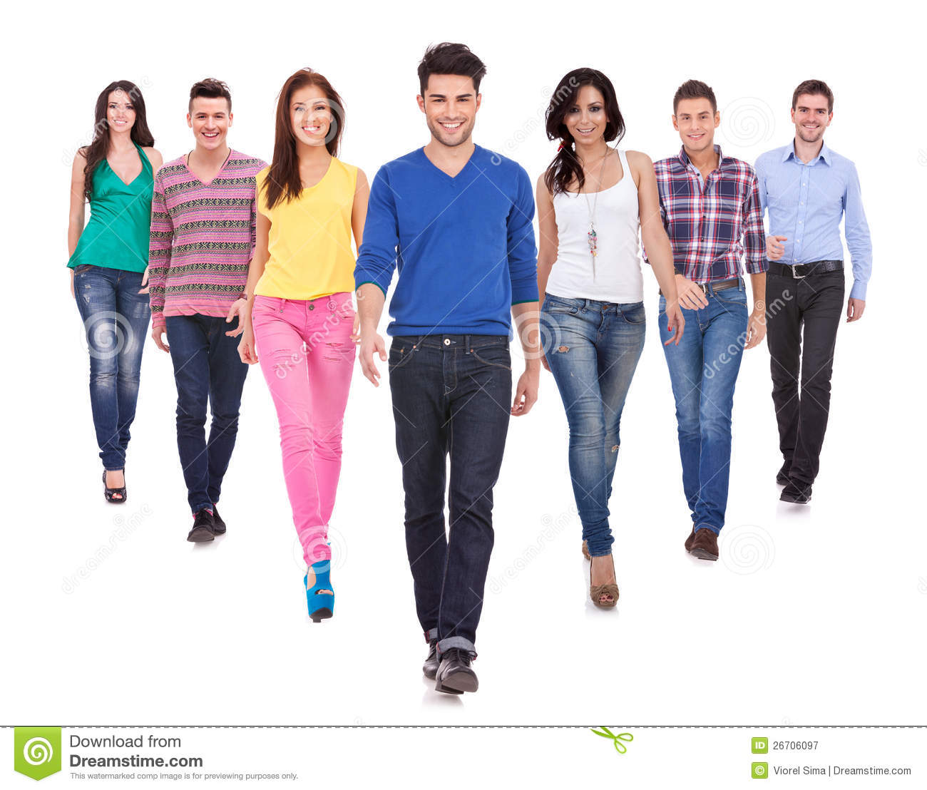 Young Casual People Walking Forward Stock Image - Image of ...