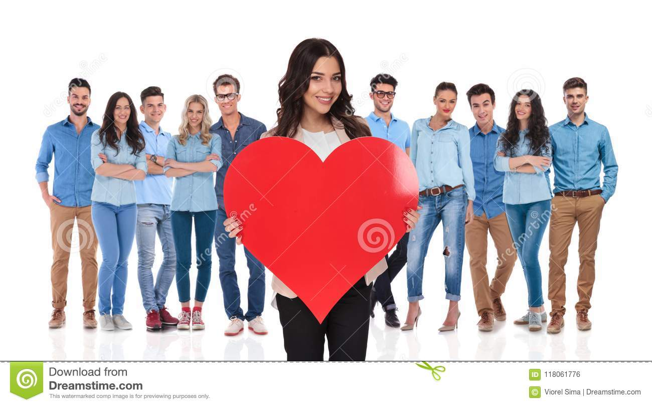 Young casual team celebrating valentine`s day with businesswoman