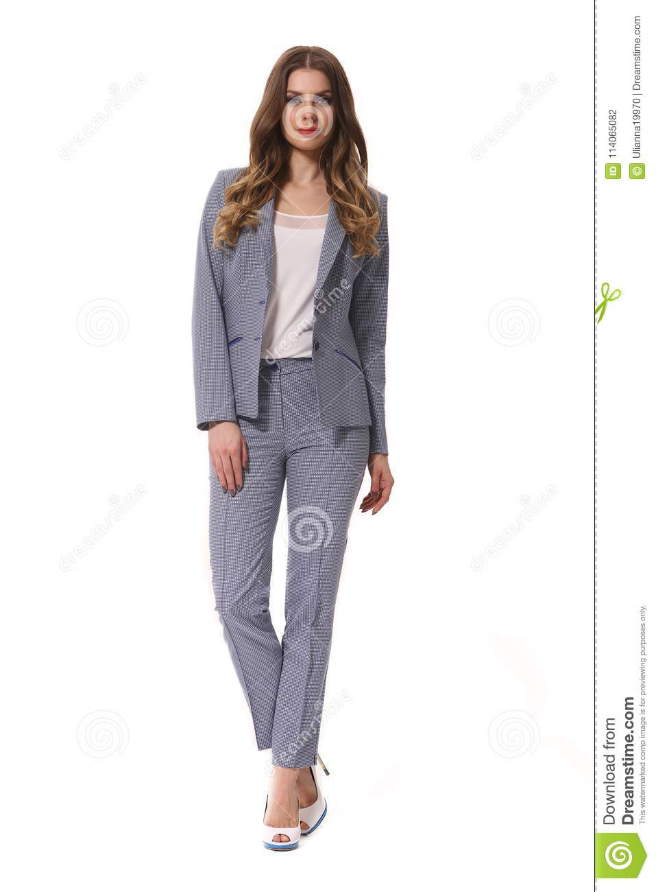 Young Caucasian Business Woman Executive Posing In Designer Formal Summer Blue Pant Suit Stock Photo Image Of Hair Healthy 114065082