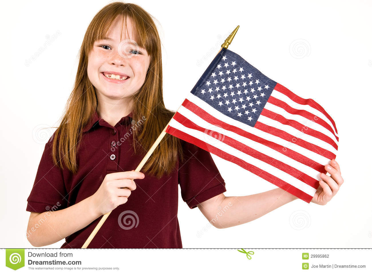 Young Girl Holding An American Flag Stock Photography - Image 29995862-3521