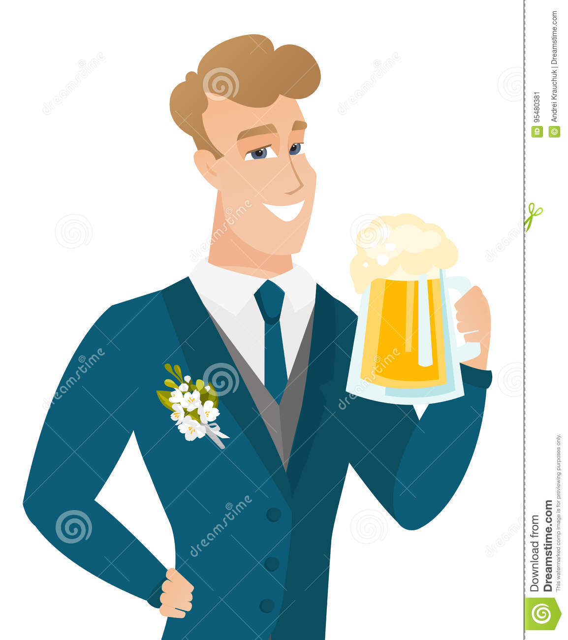 Young Caucasian Groom Drinking Beer. Stock Vector - Illustration of ...