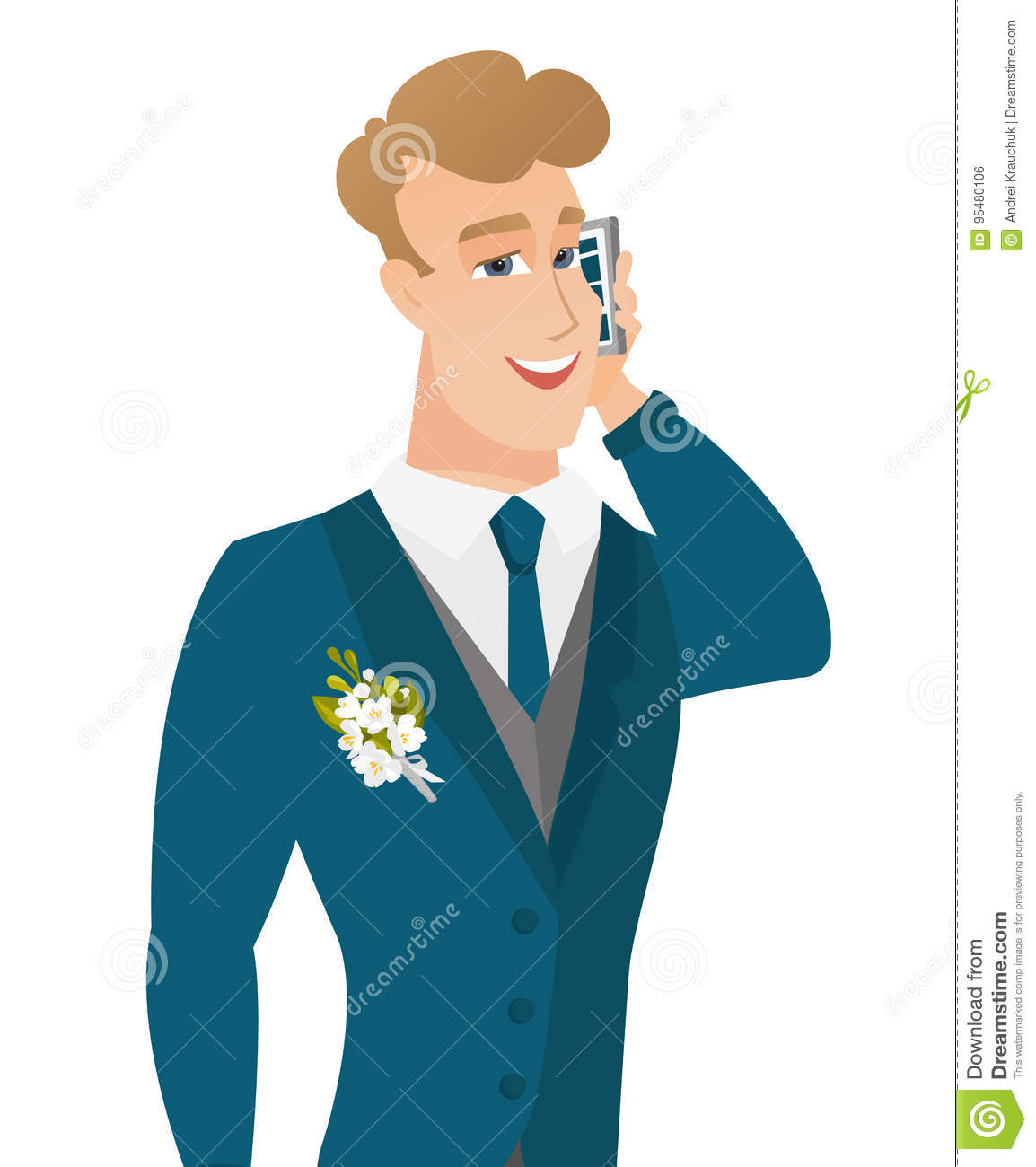 Young Caucasian Groom Talking On A Mobile Phone. Stock Vector ...