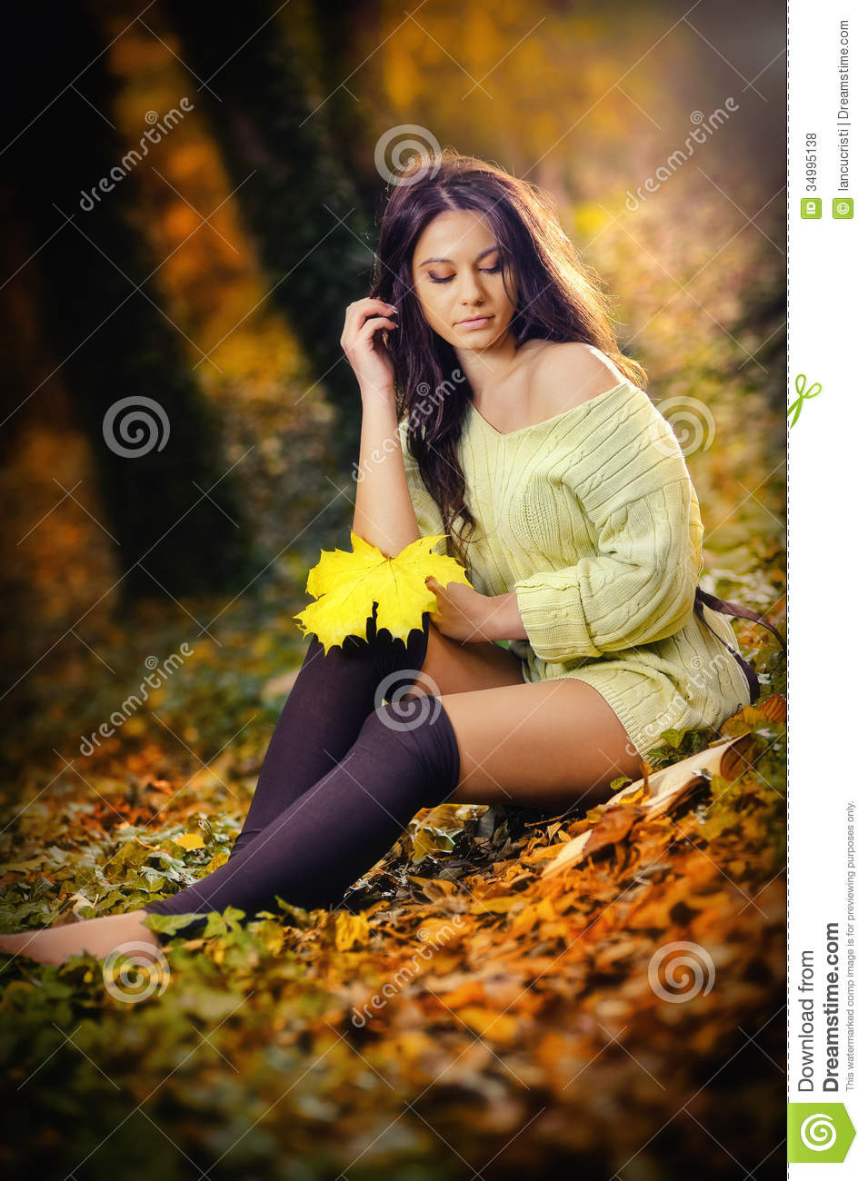 Beautiful Sensuality Teen Girl With Long Hair: Young Caucasian Sensual Woman In A Romantic Autumn Scenery
