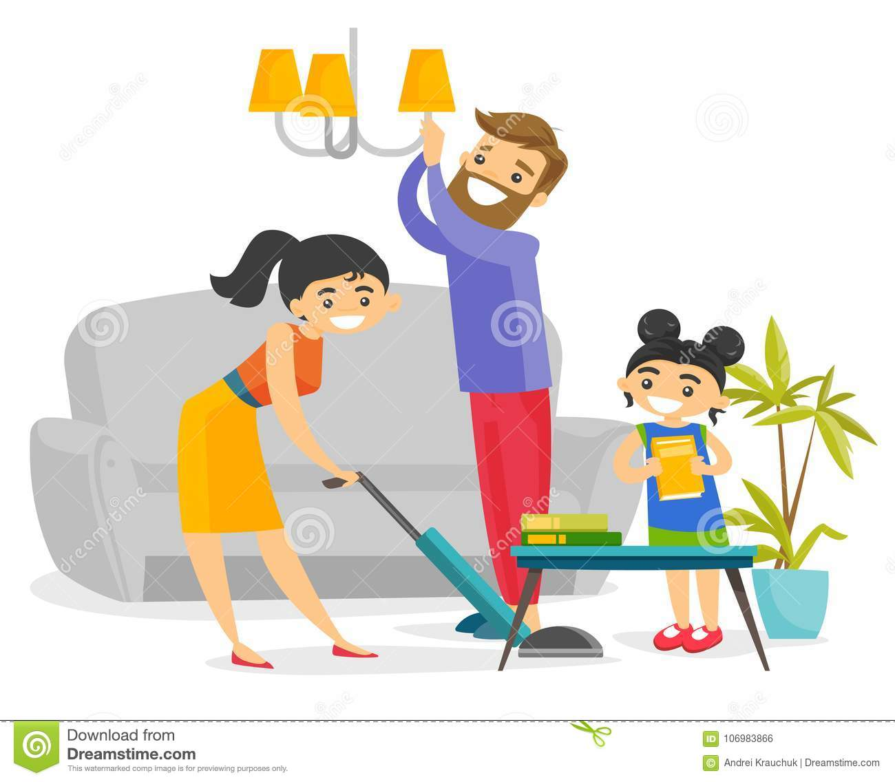 Download Young Happy Caucasian White Family Cleaning House. Stock Vector    Illustration Of European,