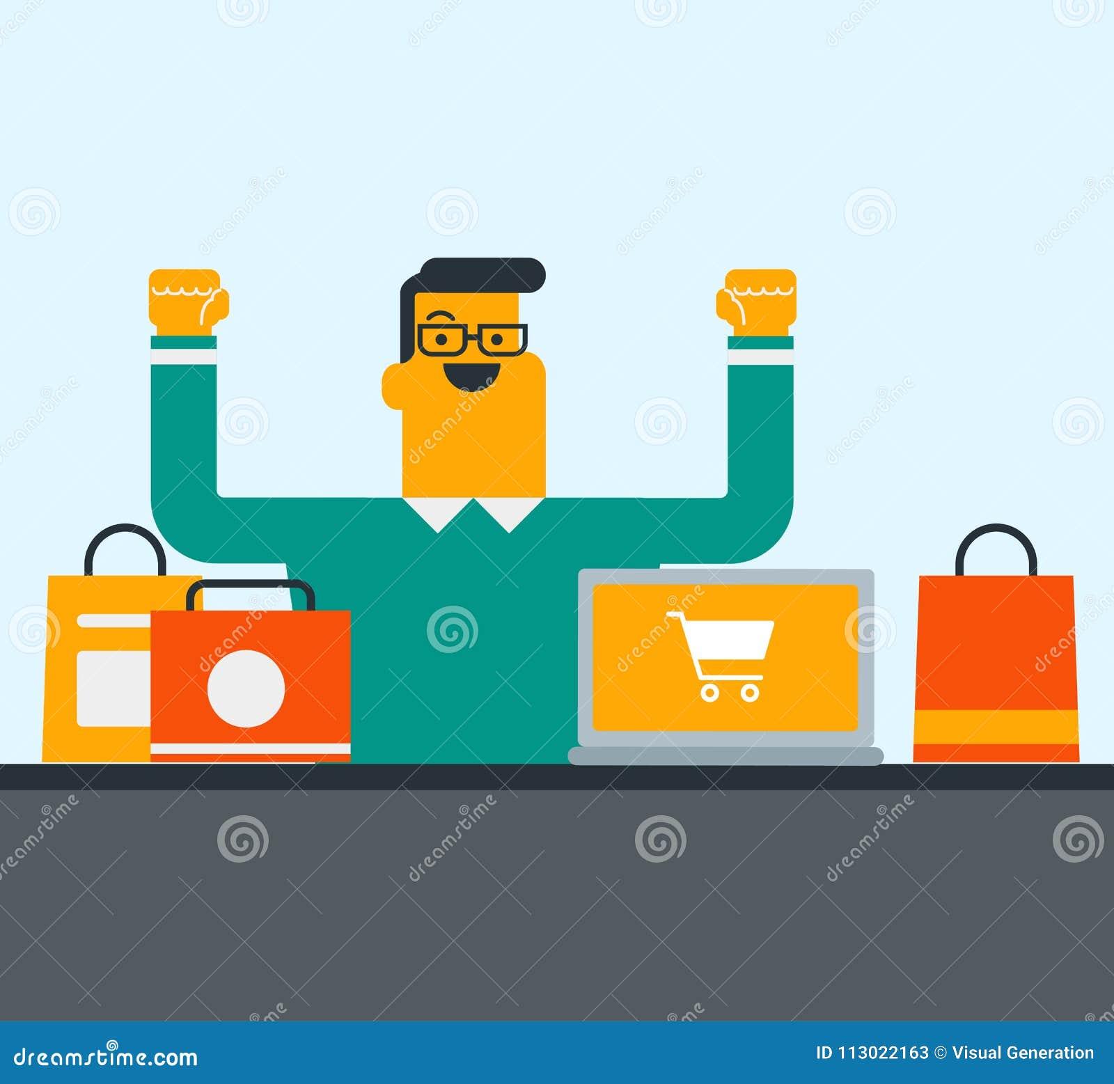Caucasian man using laptop for online shopping.