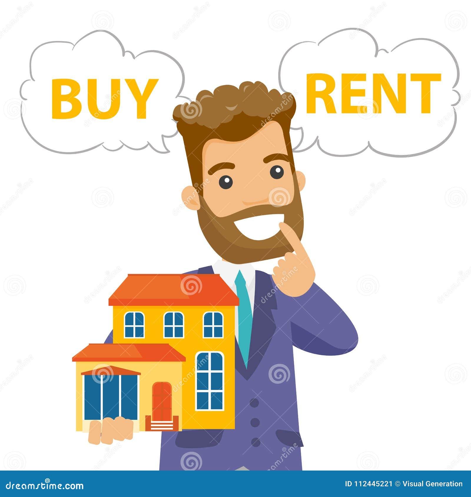 Caucasian white man thinking buy or rent house.