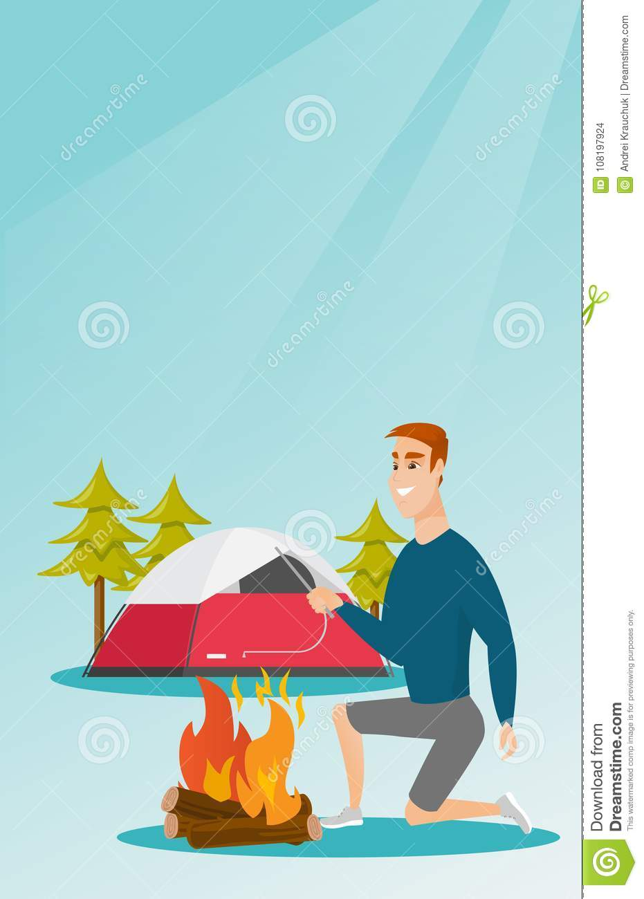 Young caucasian white man making the campfire.