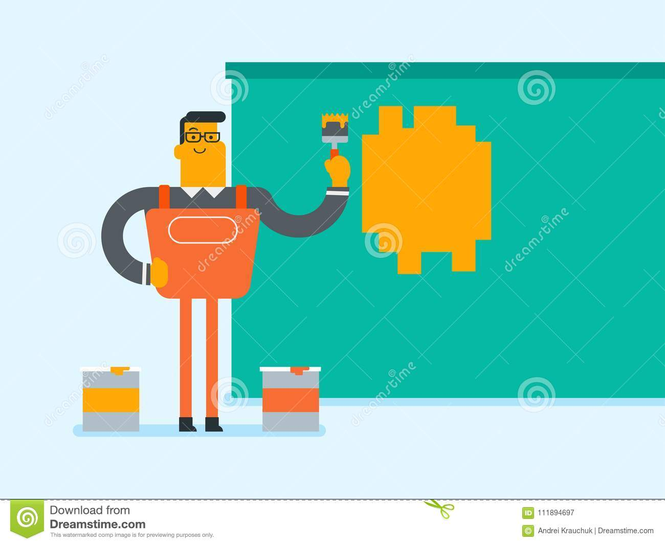 Young Caucasian White Painter Painting A Wall Stock Vector
