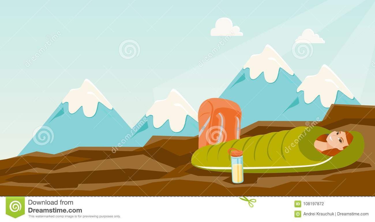 Woman Sleeping In A Sleeping Bag In The Mountains. Stock ...