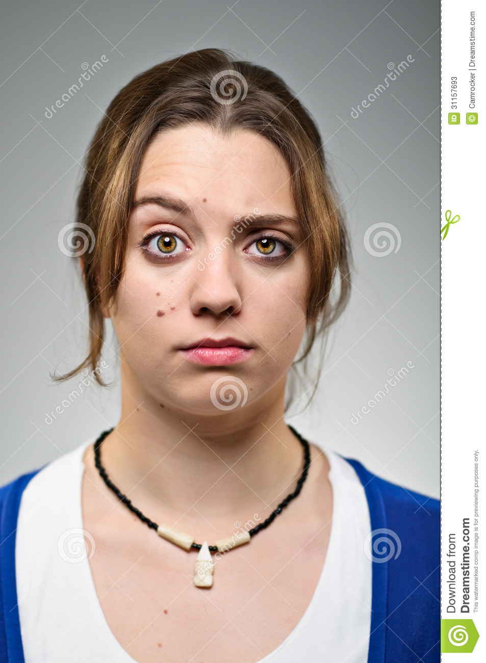 Young Caucasian Woman Raised Eyebrow Portrait Stock Image Image Of