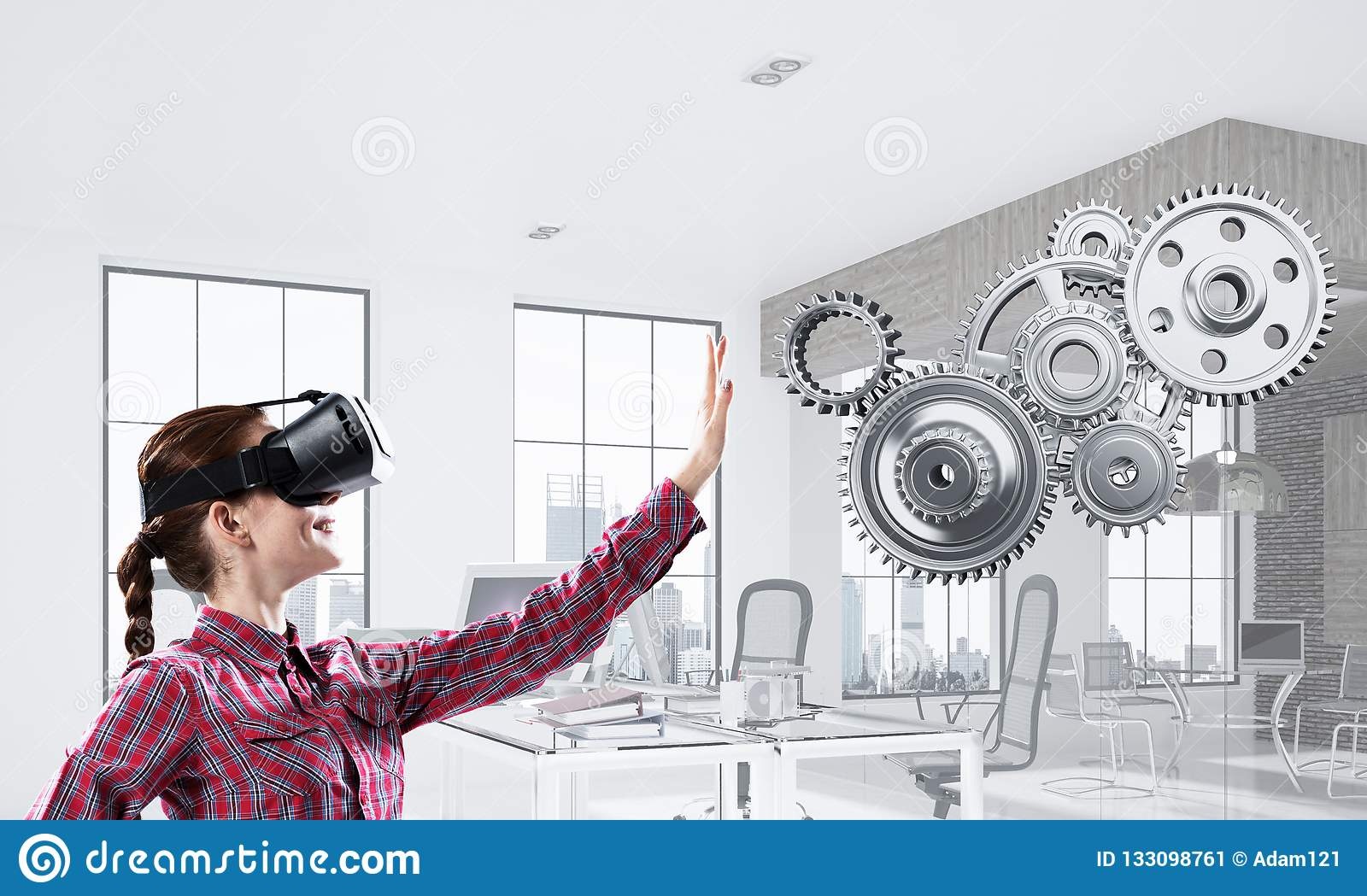 Girl In Casual Wearing VR Glasses And Experiencing Virtual