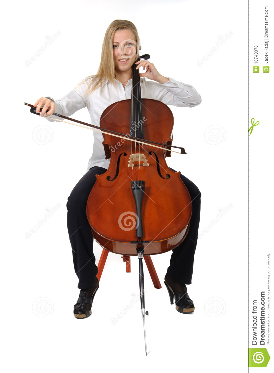 Young Cellist Playing Stock Photo - Image: 16748070