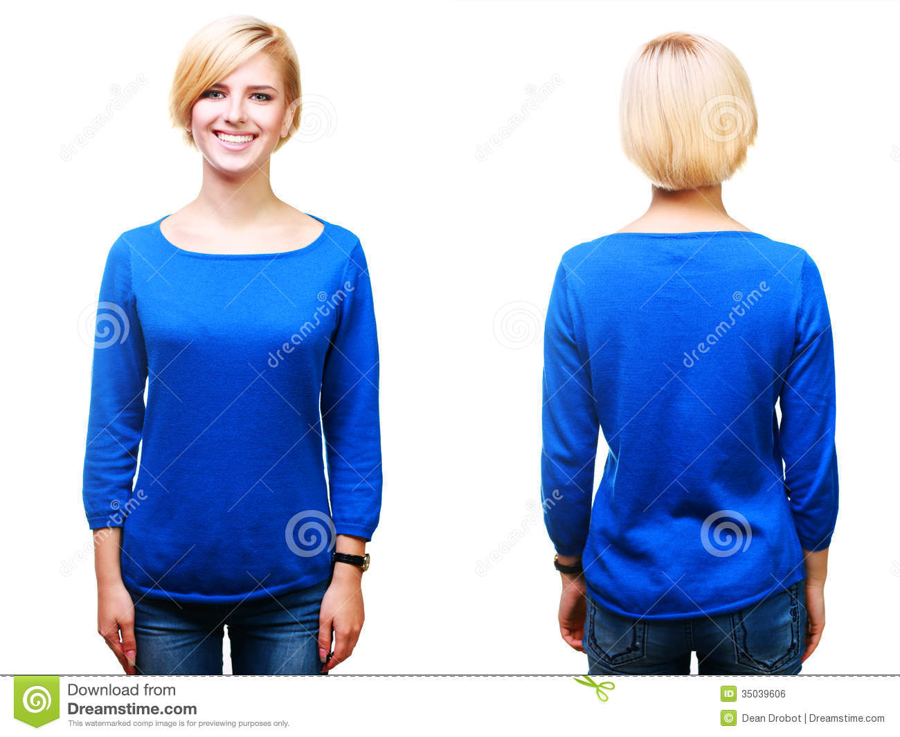 Young Cheerful Blonde Woman In Blank Blue Sweater Stock Photo ...