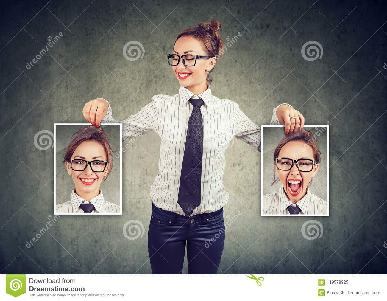 Cheerful woman showing different photos with emotions