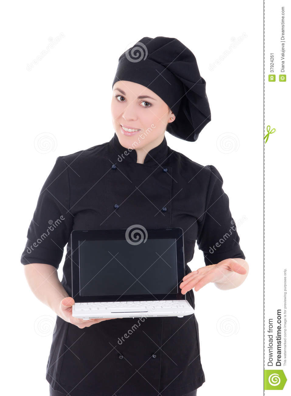 Young chef woman in black uniform showing laptop with copypaste