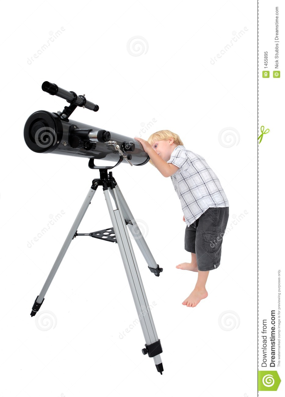 Young Child Or Boy Looking Through A Telescope Royalty ...