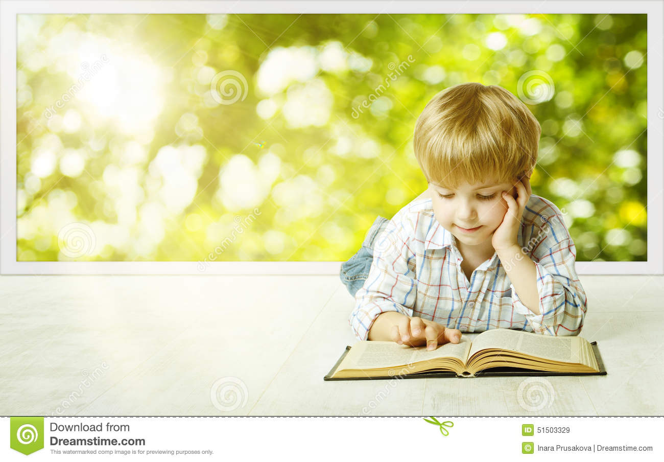 Young Child Boy Reading Book, Small Children Early Development