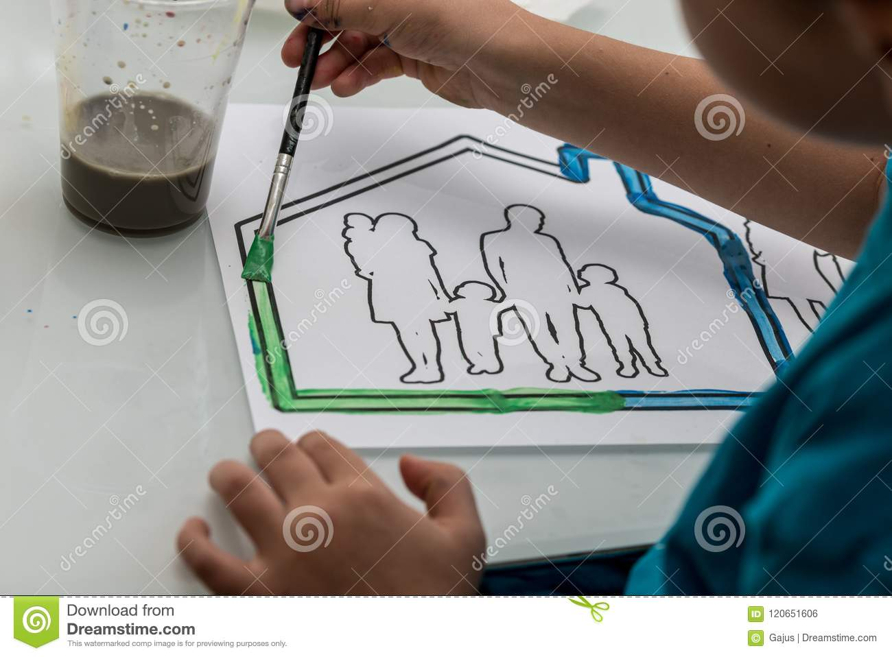 Young Child Colouring In A Sketch Stock Photo - Image of indoors ...