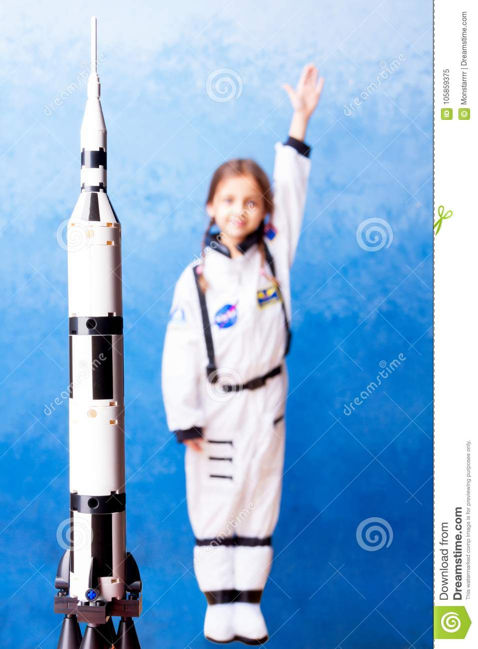 Download comp  sc 1 st  Dreamstime.com & Kid Playing In Astronaut With Constructor Stock Image - Image of ...