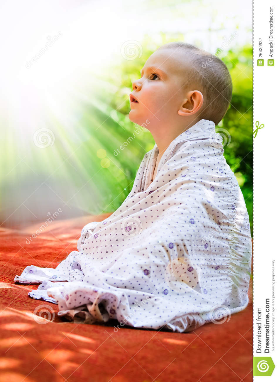 Young Child Looking In Awe At The Sun Stock Photo Image