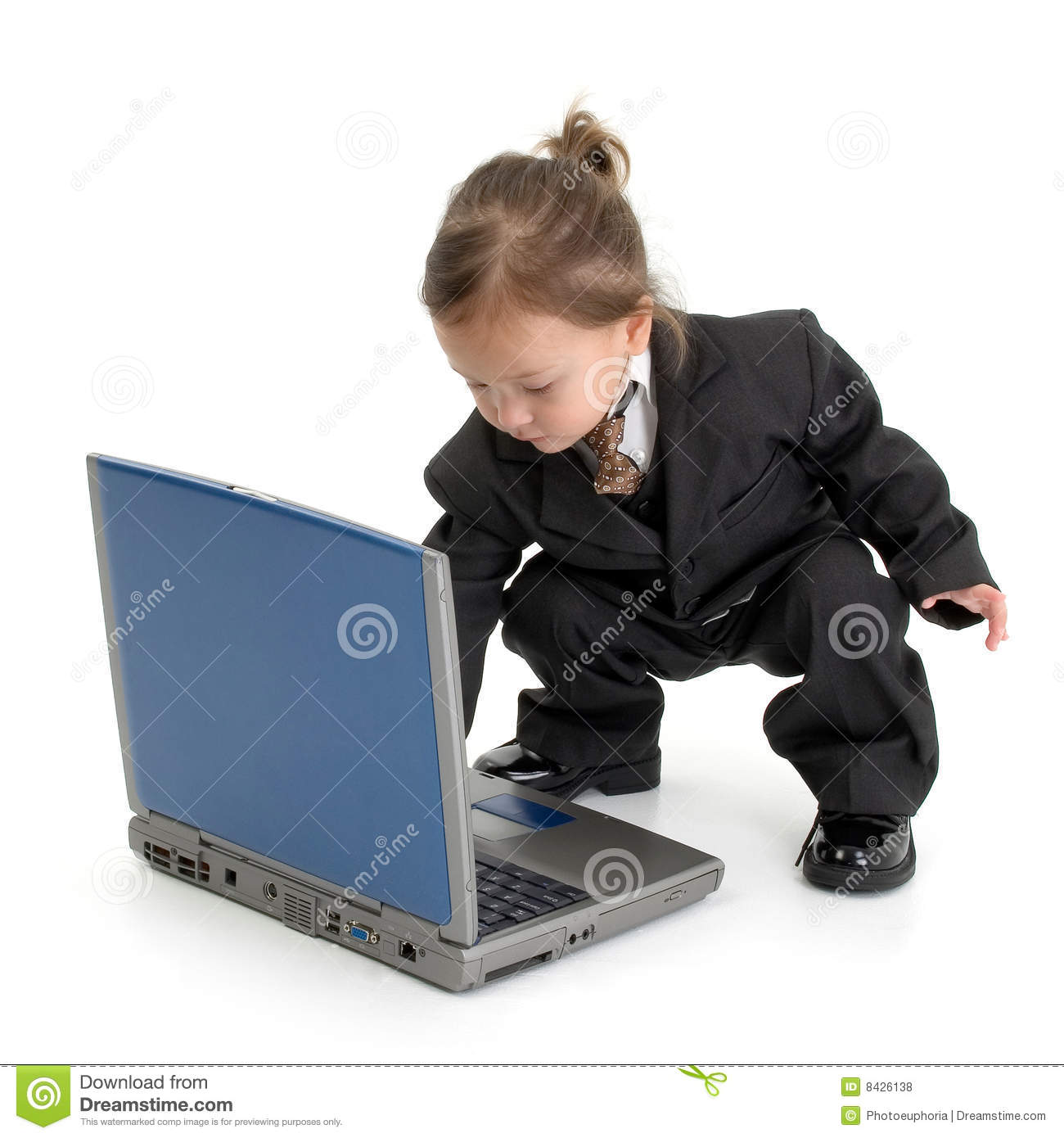 Young child using laptop