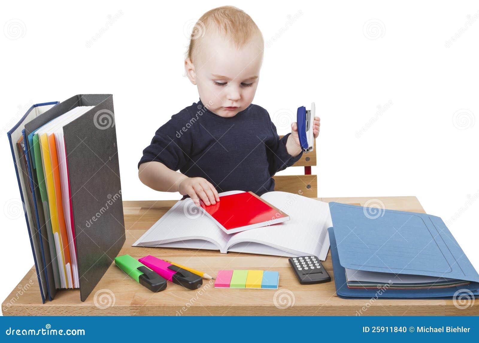 Child writing at desk