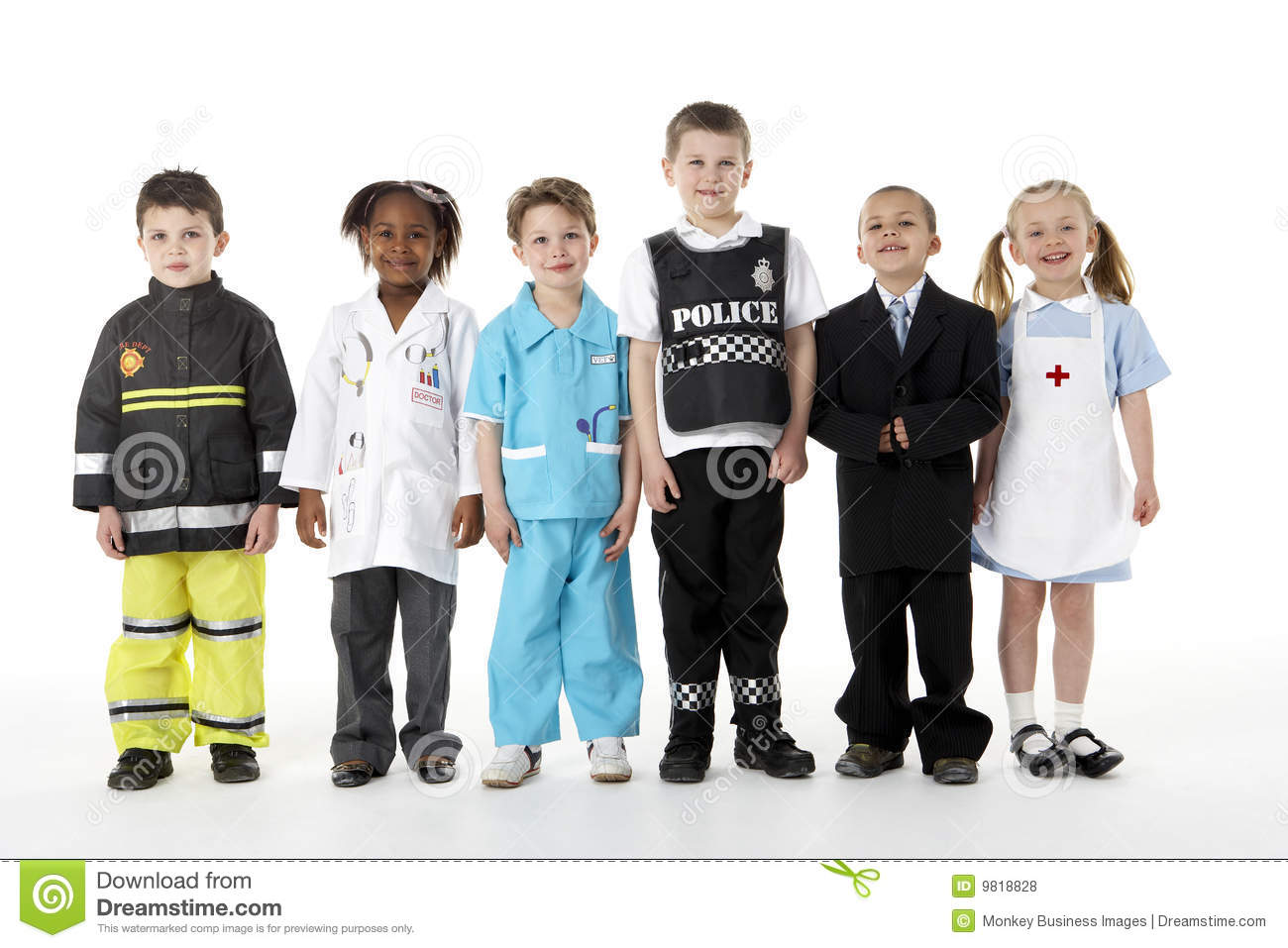 young children dressing up as professions stock photo image 9818828. Black Bedroom Furniture Sets. Home Design Ideas