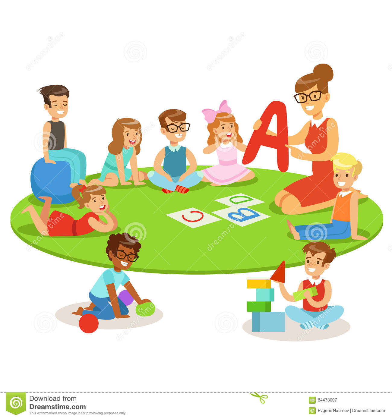 Small Daycare Floor Plans Young Children Learning Alphabet And Playing In Nursery