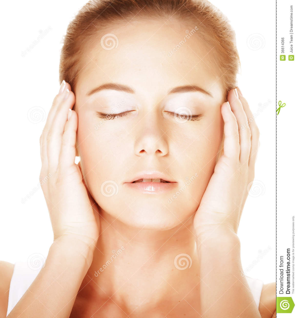 Young Closing Eyes Woman's Face Stock Photo