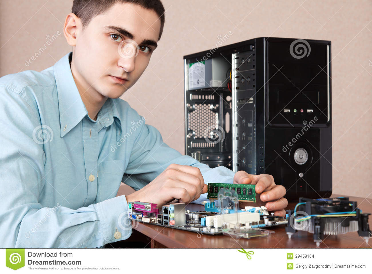Young computer engineer stock photo. Image of engineering ...
