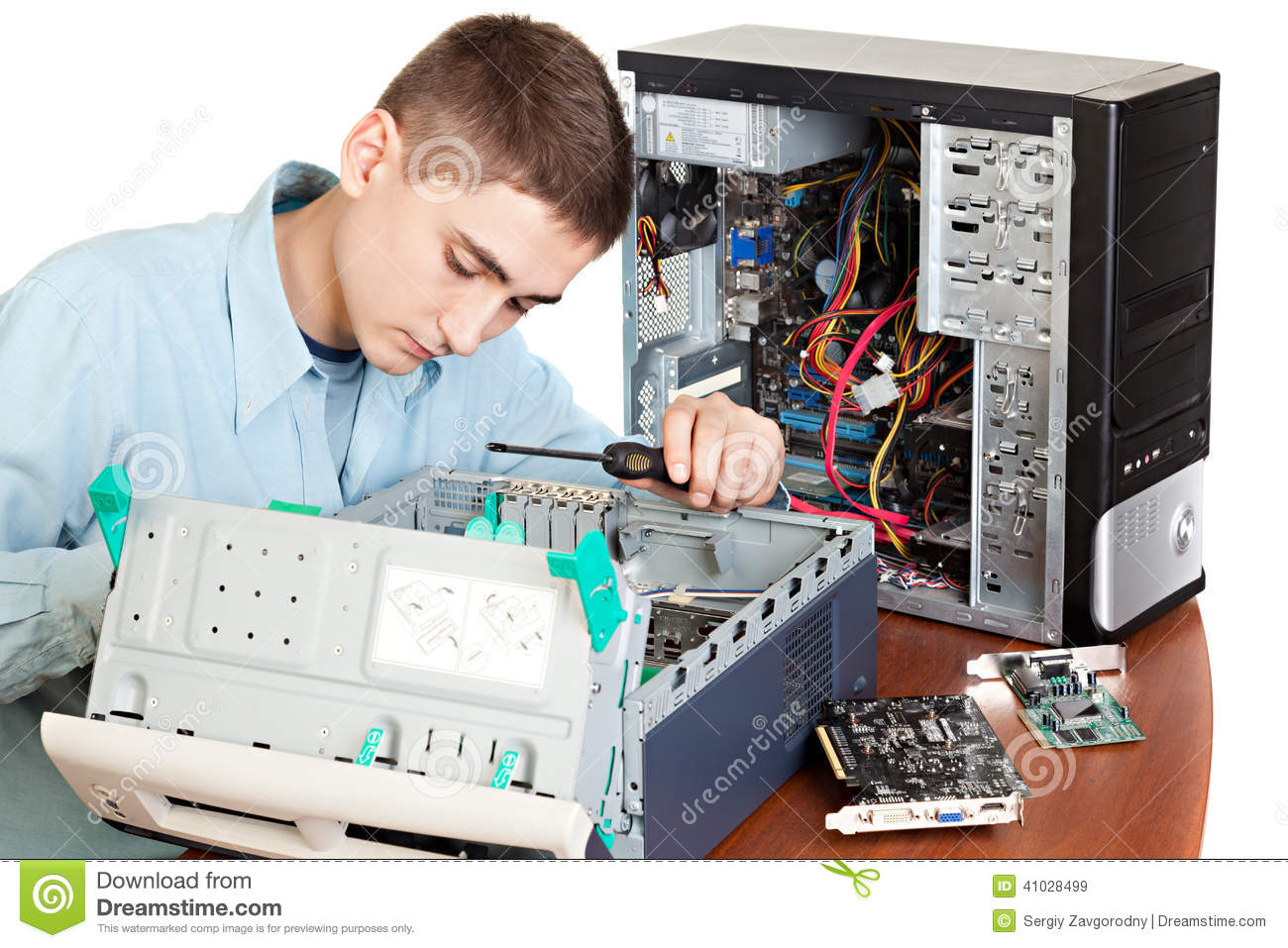 Young computer engineer stock image. Image of disk, desk ...