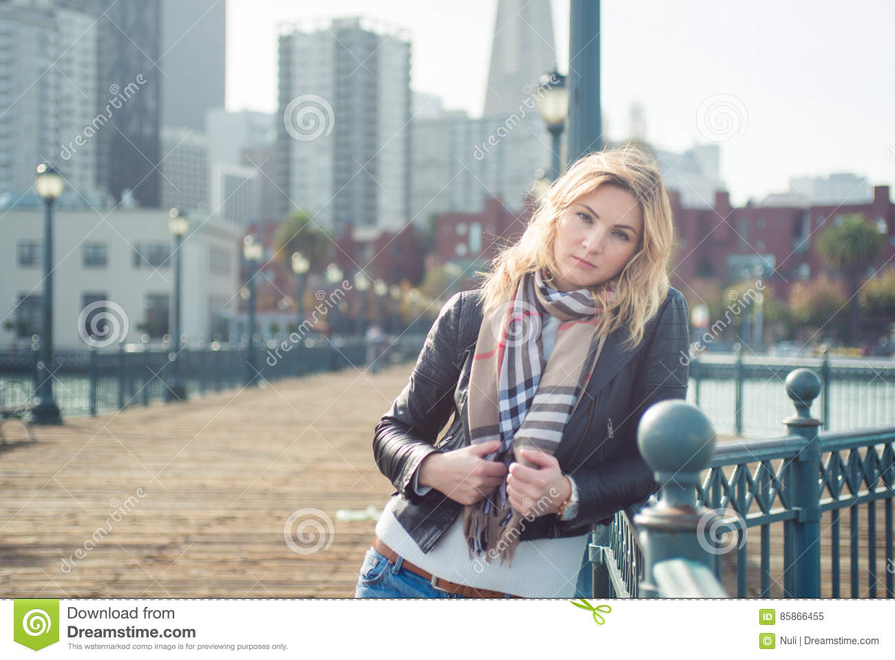Young confident attractive woman on wooden bridge