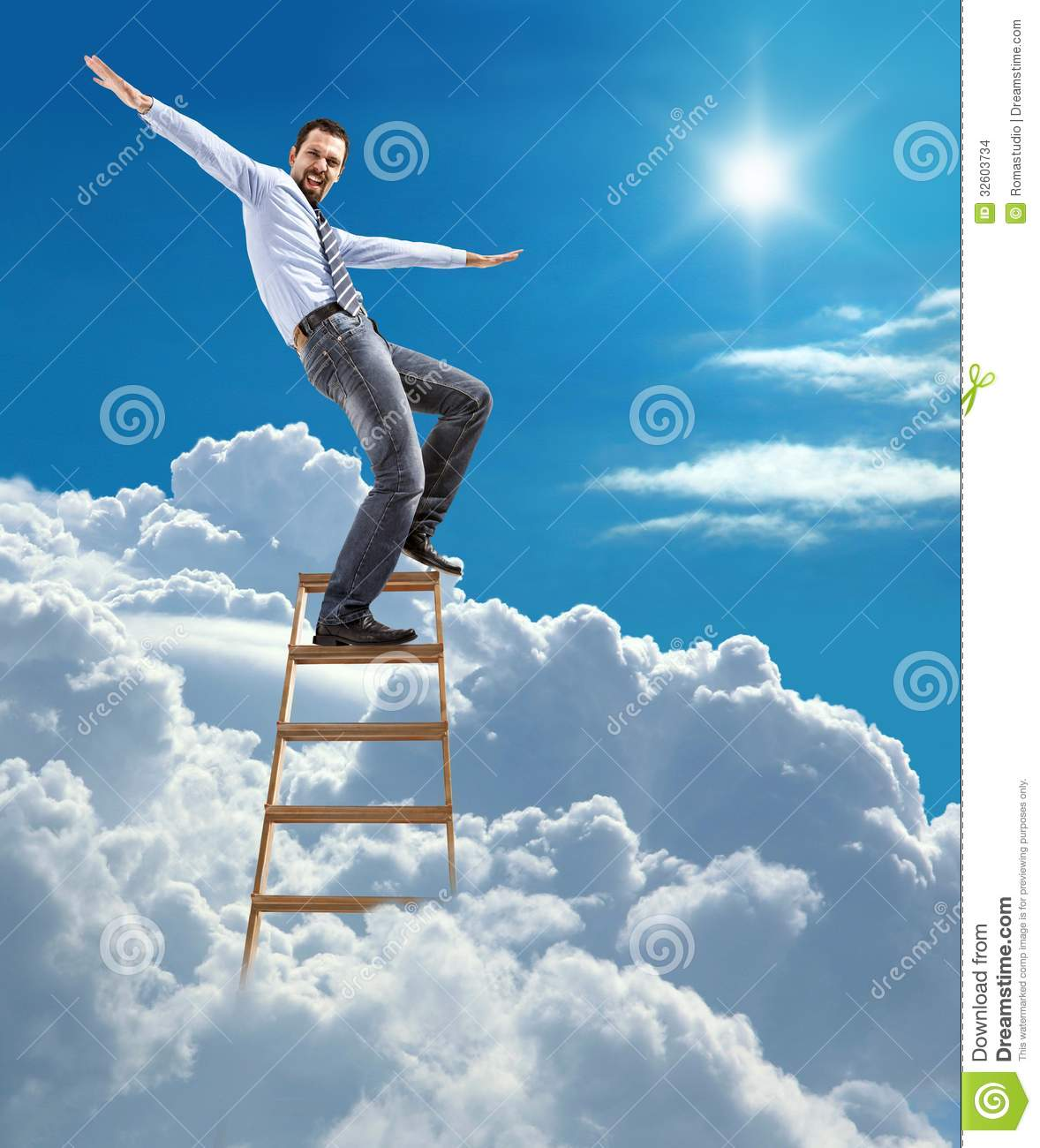Young Confident Businessman Standing At The Ladder High In