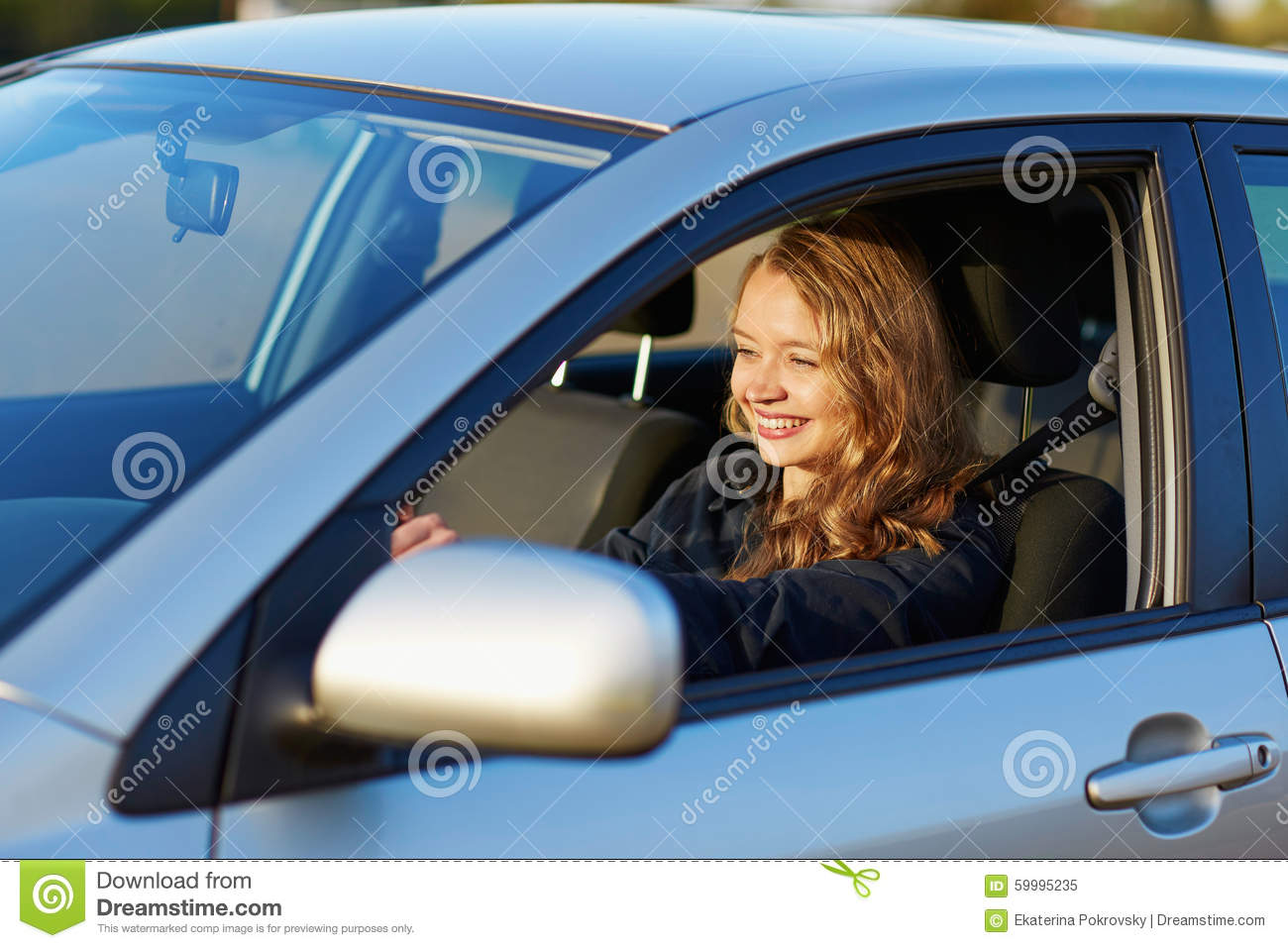 Young Confident Woman Driving A Car Stock Image - Image of ...