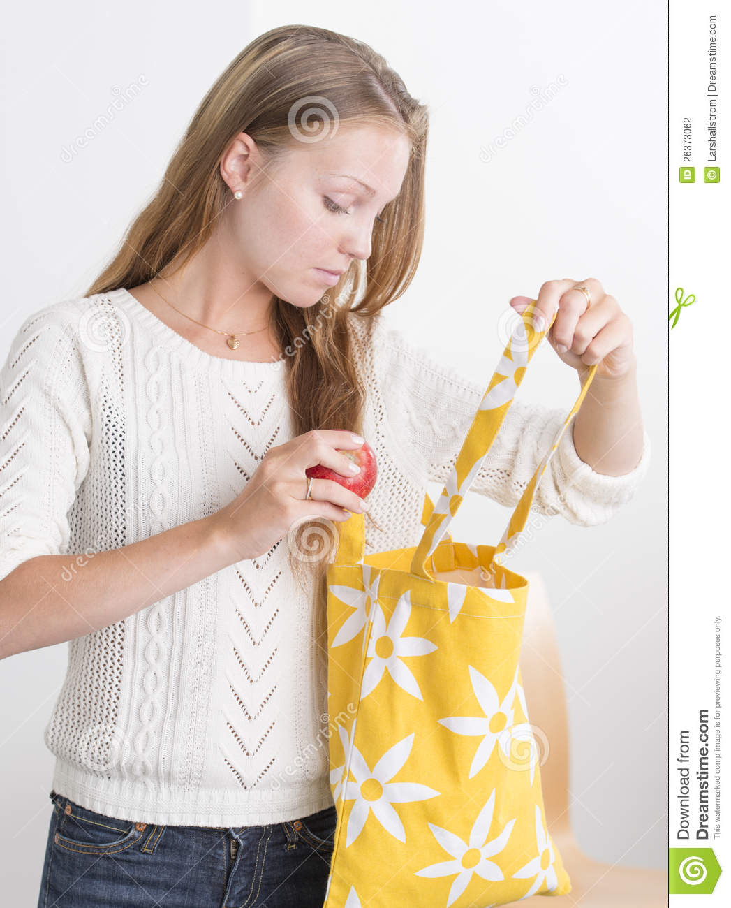 Download Young Confident Woman With Reusable Shopping Bag Stock Photo - Image of modern, cute: 26373062