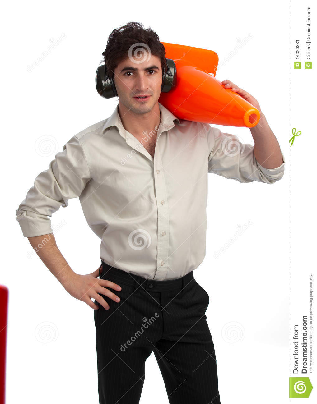 Young construction foreman with traffic cone