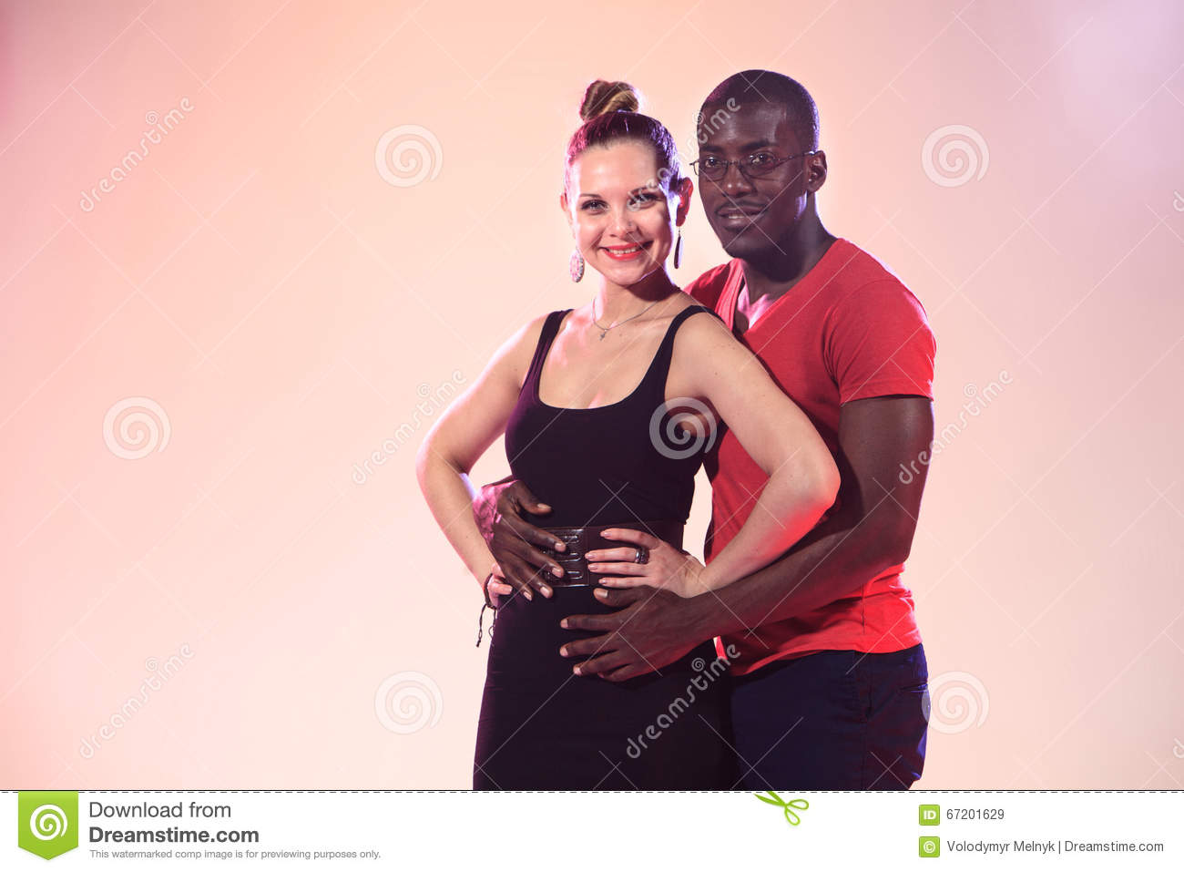 with white man Posing girl black