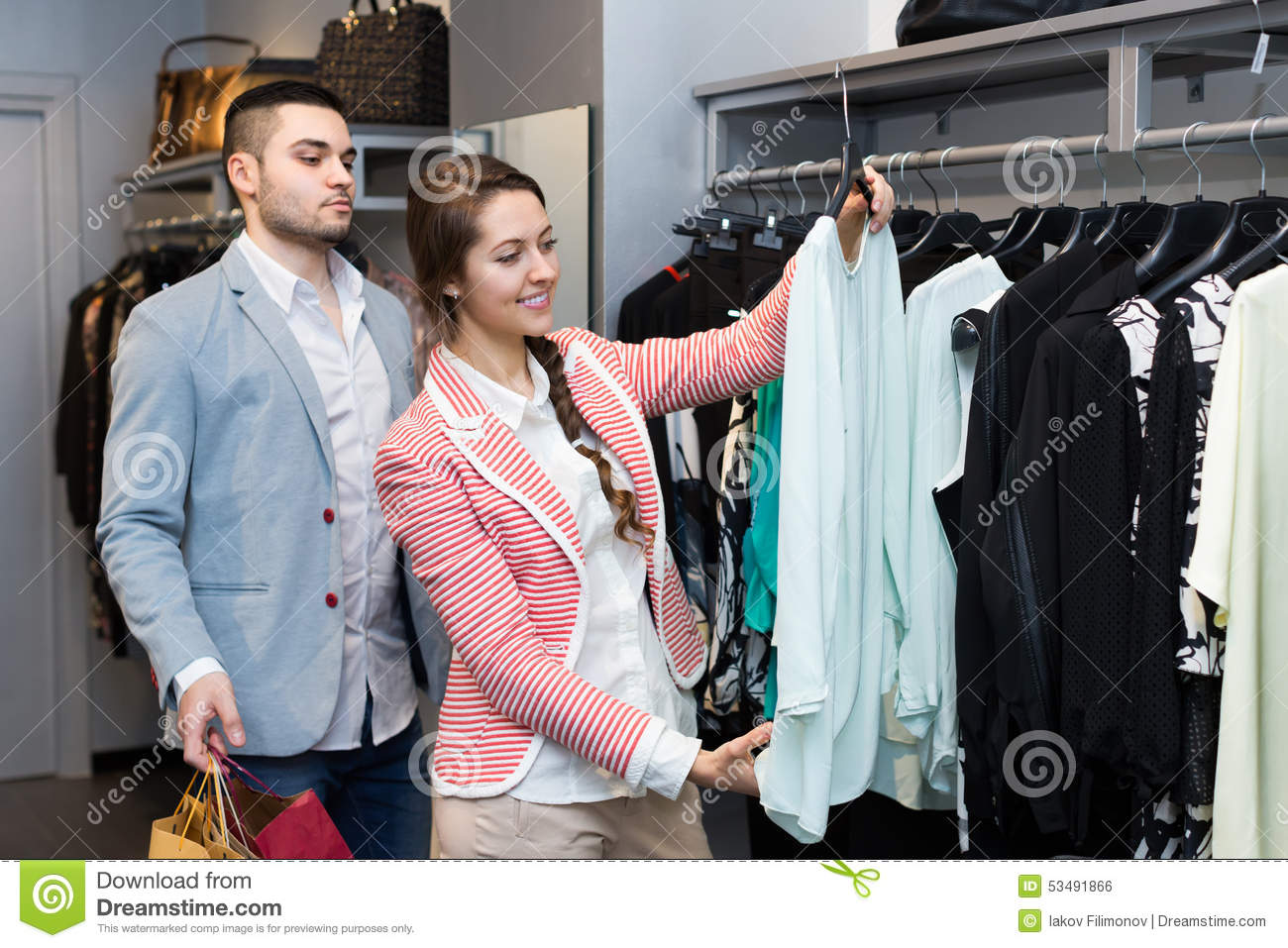 Collection of leathers in clothing store. focus on first column near