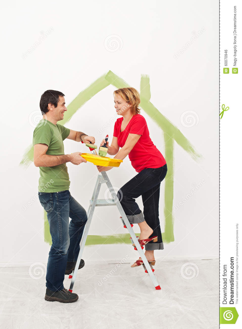 Home improvement young couple with blueprints stock photo 21769542 - Young couple modern homes ...