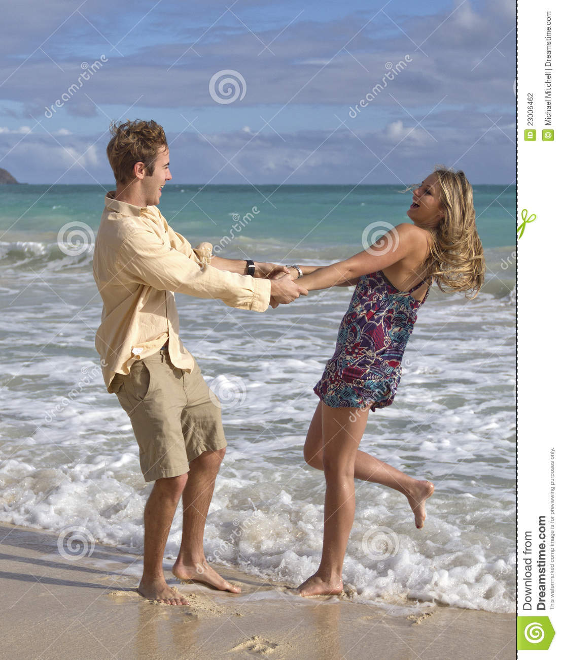 Couple At The Beach Stock Image Image Of Caucasian: A Young Couple Dance On The Beach Stock Photo