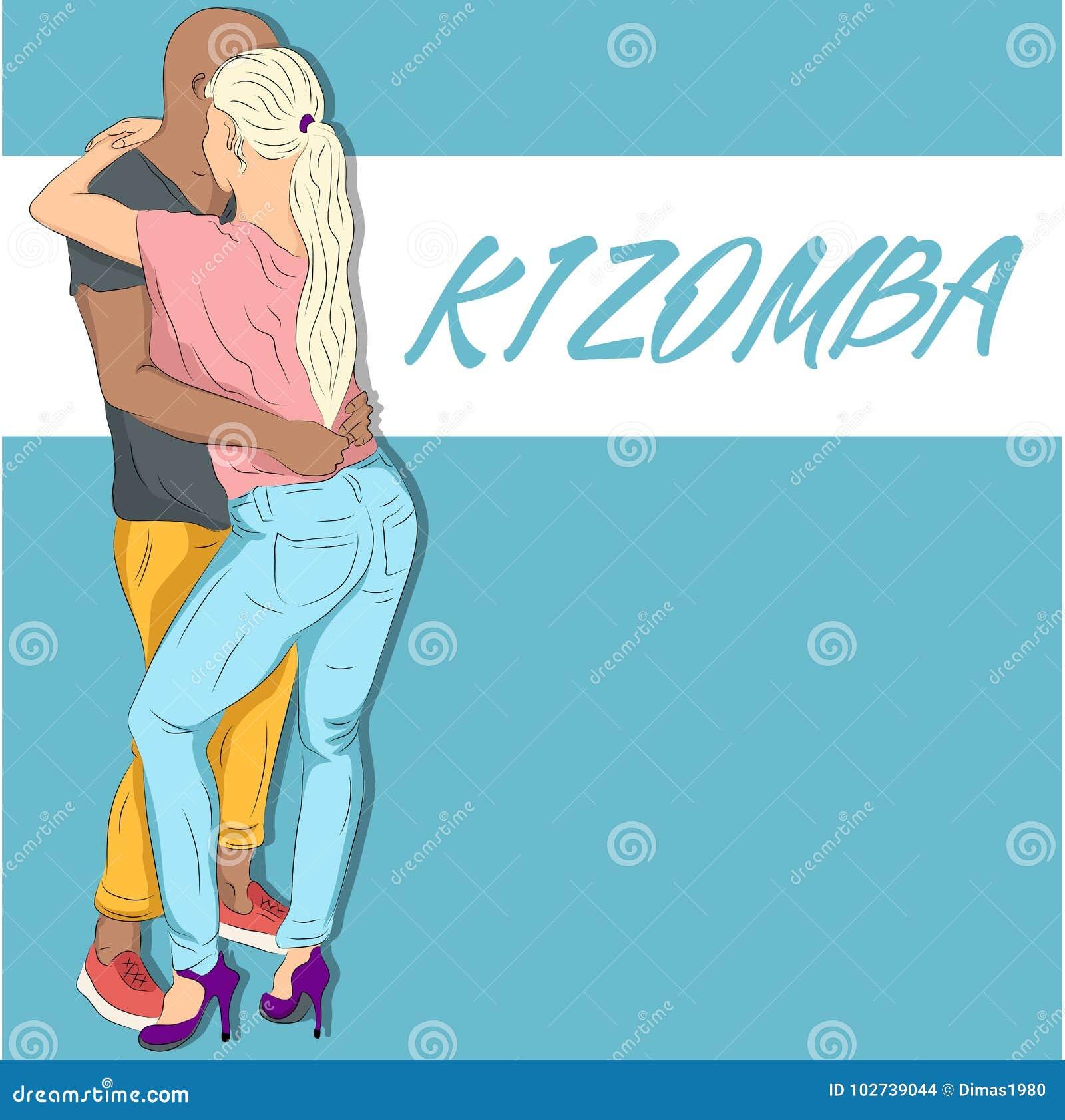 Young couple dancing kizomba vector draw