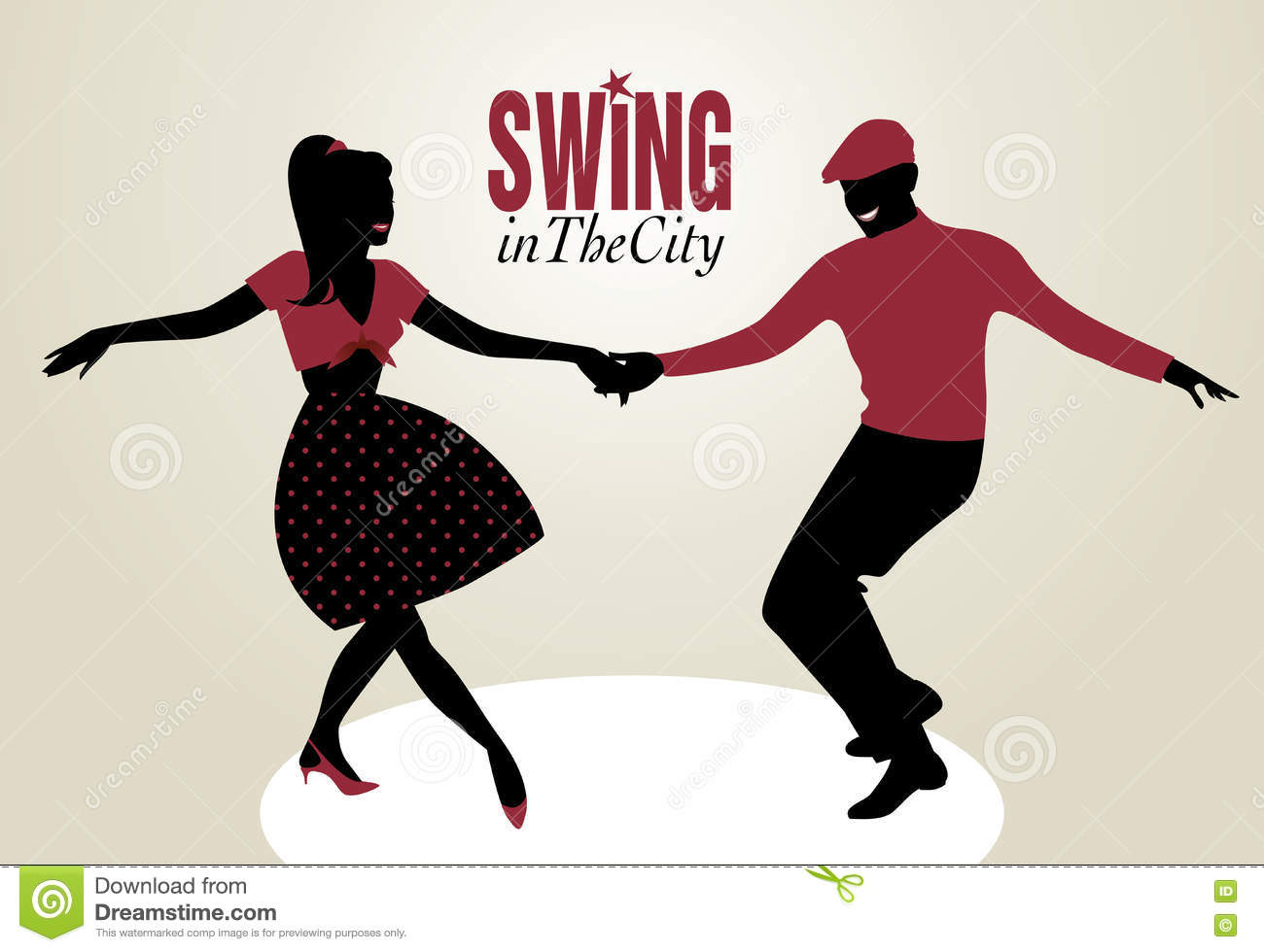 Young Couple Dancing Swing Silhouettes Stock Illustration