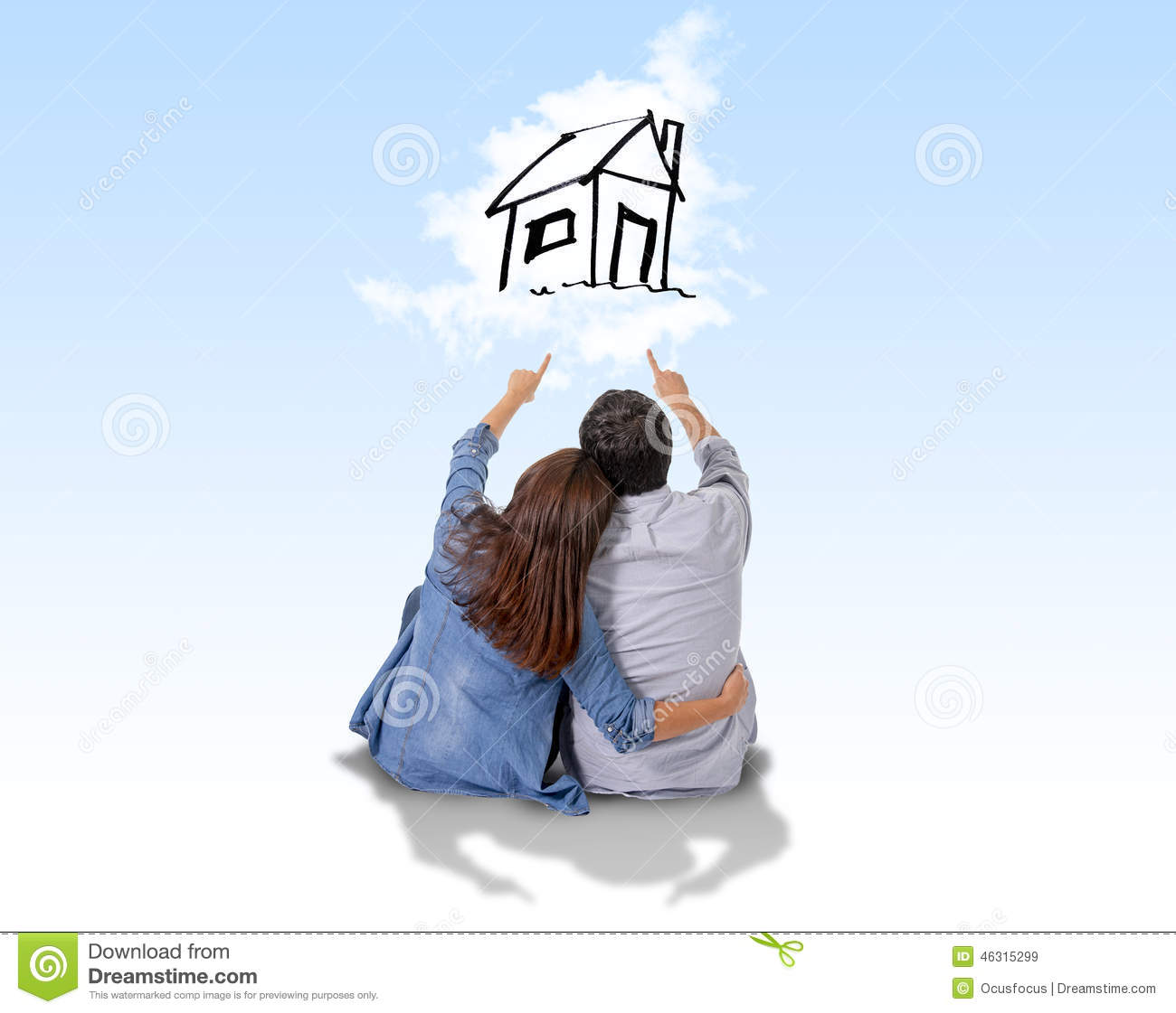 Young couple dreaming and imaging their new house in real state stock illustration image 46315299 - Young couple modern homes ...
