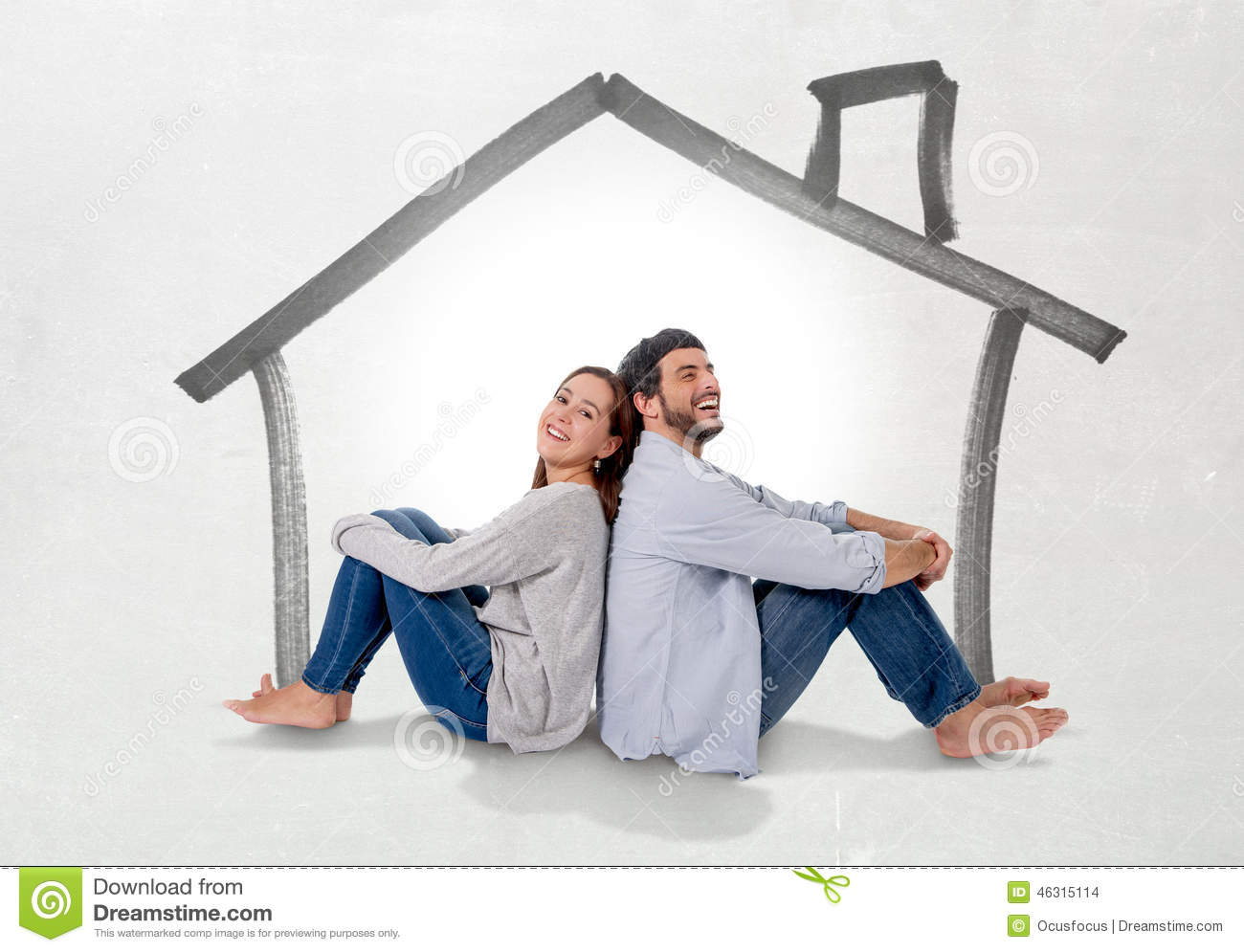 Young couple dreaming and imaging their new house in real state concept stock illustration - Young couple modern homes ...