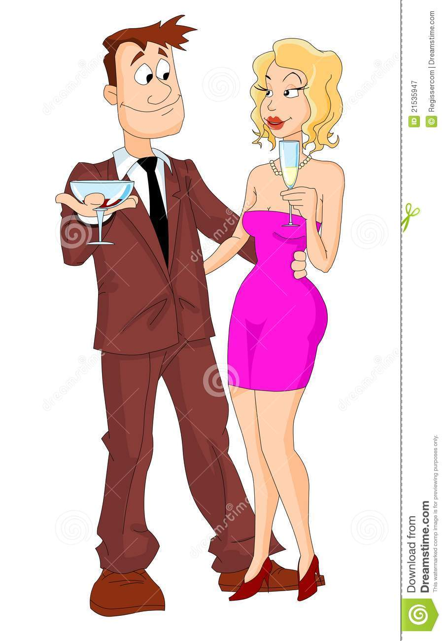 Young Couple Cartoon Young Couple Drinking ...