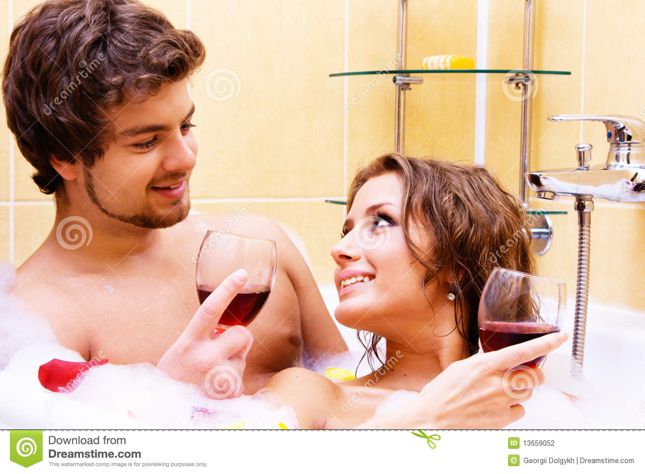Young couple drinking wine in bath stock photo image for Bathroom ideas for couples