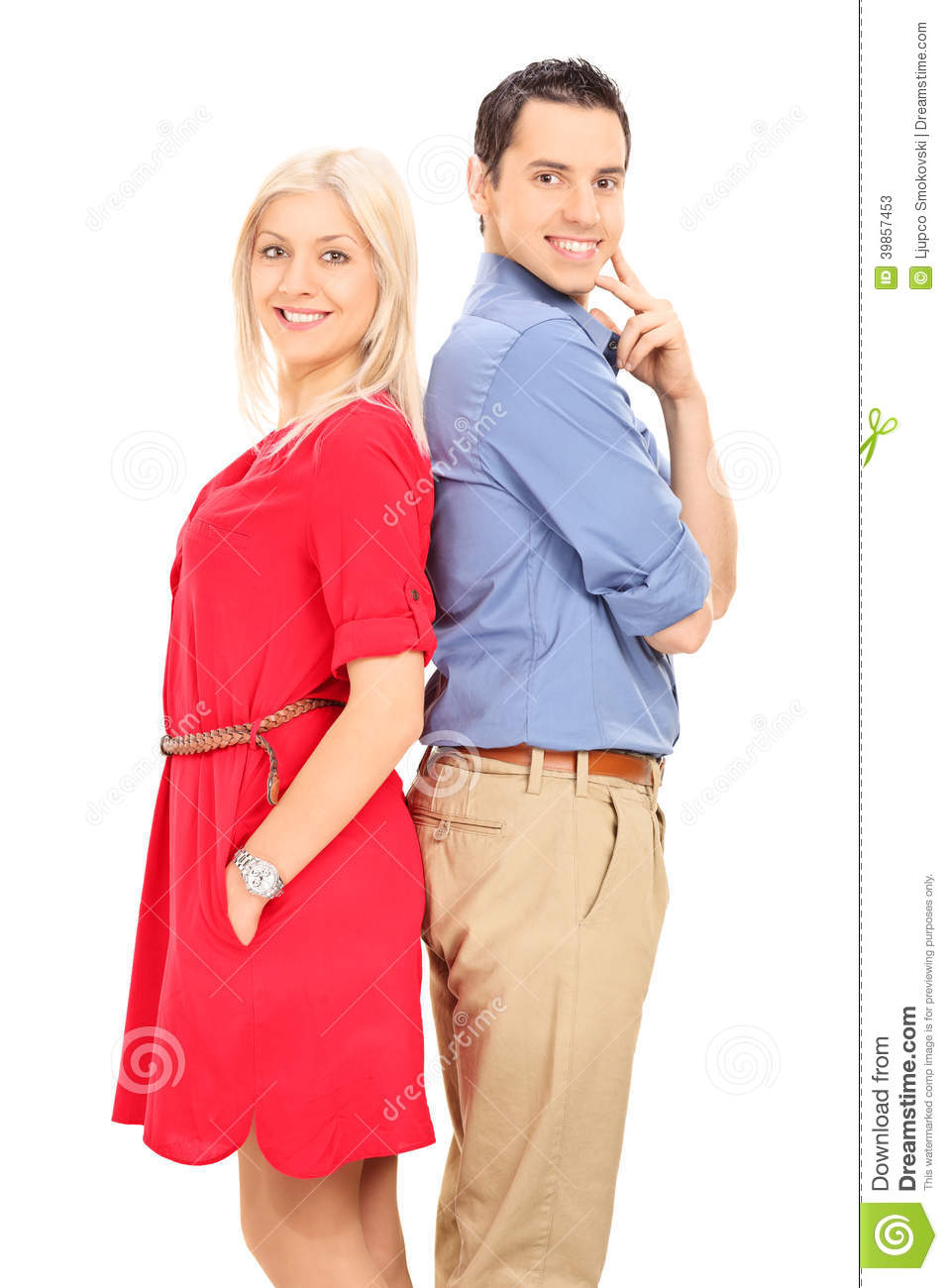 Young Couple Facing Opposite Of Each Other Stock Image Image Of