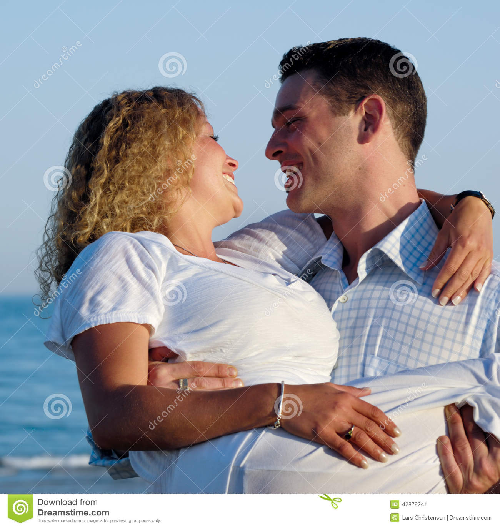 Happy Beautiful Woman Enjoying At Beach Stock Photo: Young Couple Stock Image. Image Of Couple, Beautiful